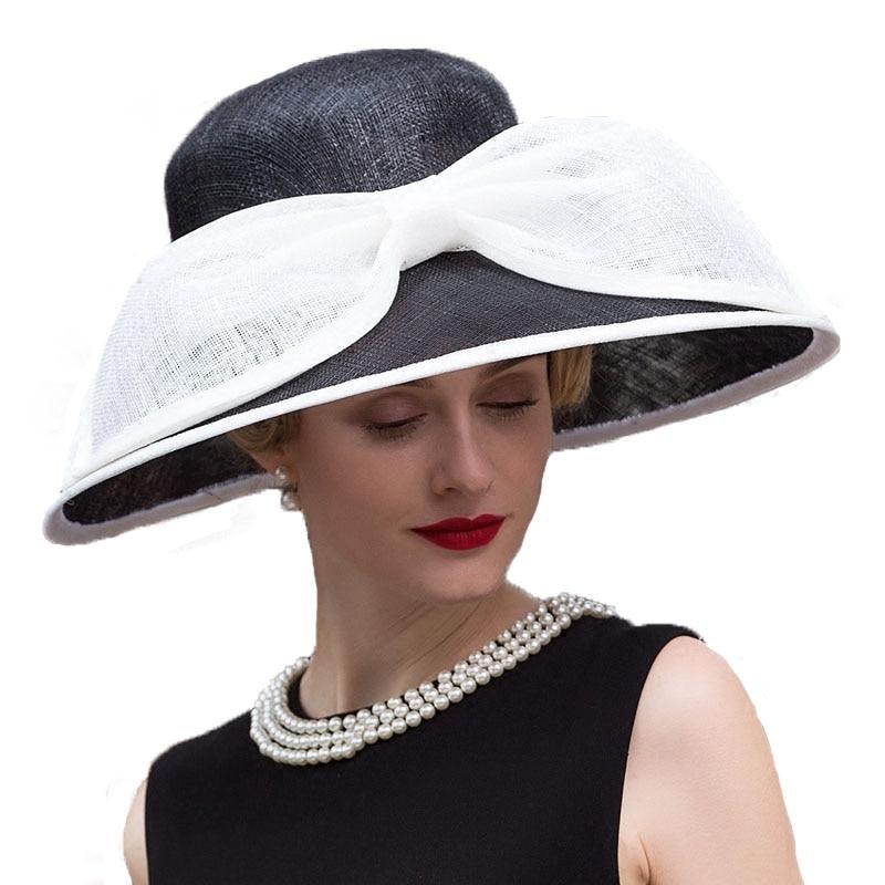 Fedora de lino para mujer elegante sombrero negro para mujer sombreros de boda para Iglesia Sinamay grande de ala ancha Fedora Kentucky Derby sombreros - 2