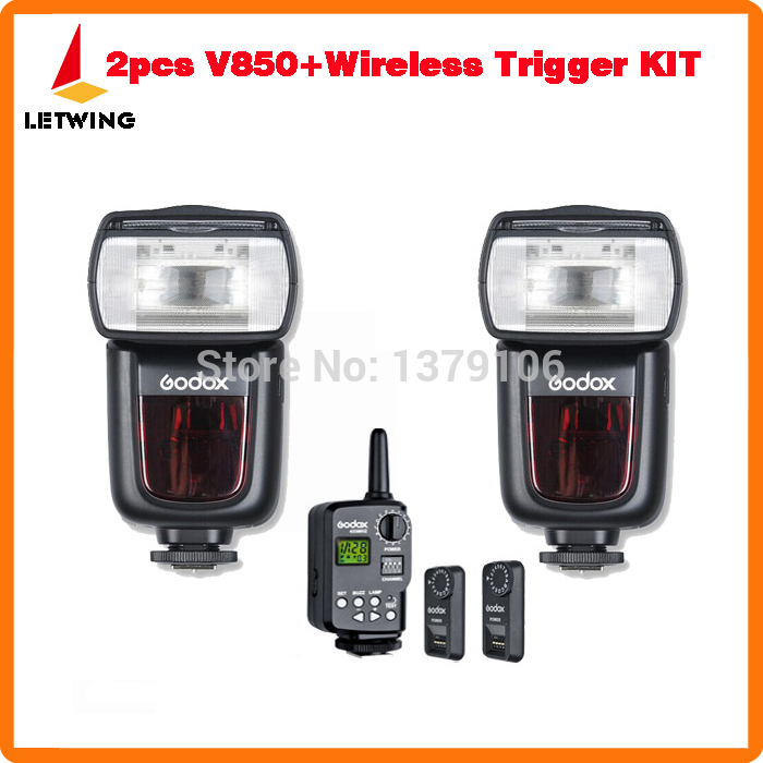 2pcs Godox V850 Li-ion Speedlite Speedlight Flash + FT-16S Remote Wireless Trigger Kit For Canon Nikon Pentax Olympus Camera etc aputure 16 channel flash speedlite