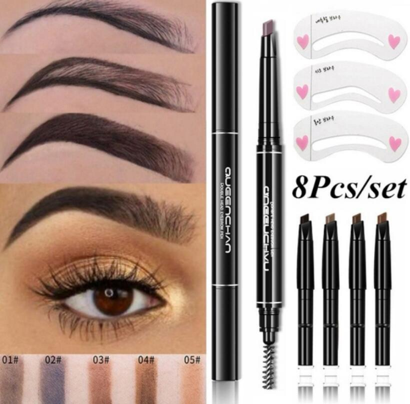8pcs/set Automatic Eyebrow Pencil Eye Brow Pen With 4pcs Replacement Brow Brush With 3pcs Eyebrow Stencils Cosmetic Makeup Tools