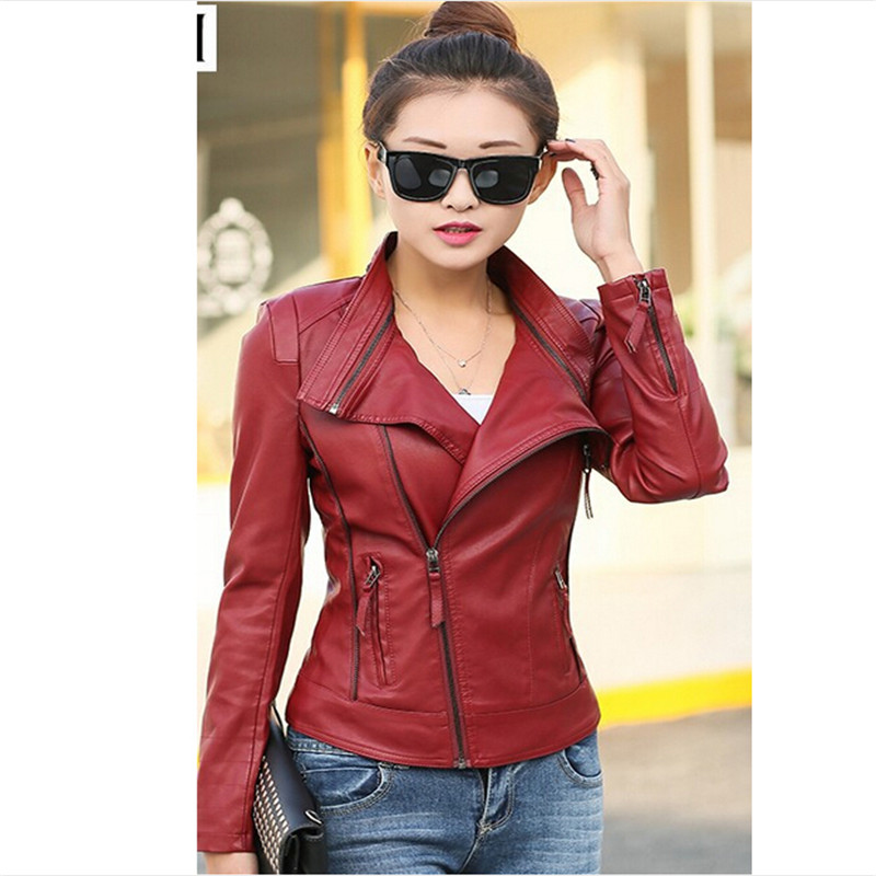 Leather   Coat Women 2016 New   Leather   Clothing Short Casual Jackets Motorcycle Jacket Spring Women   Leather   Jacket 5XL Large Size