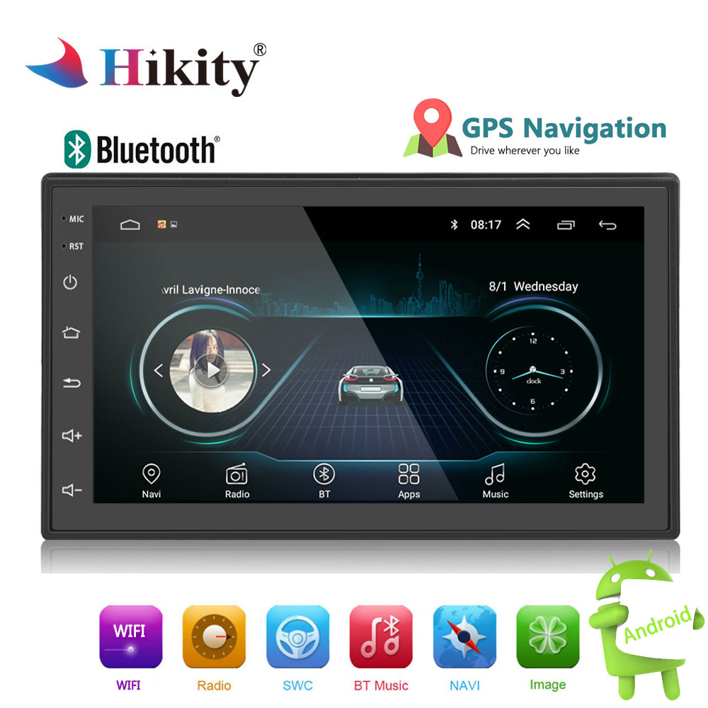 Hikity 2din Auto Radio Android multimedia player Autoradio 2 Din 7 ''touchscreen GPS Bluetooth FM WIFI auto audio player stereo