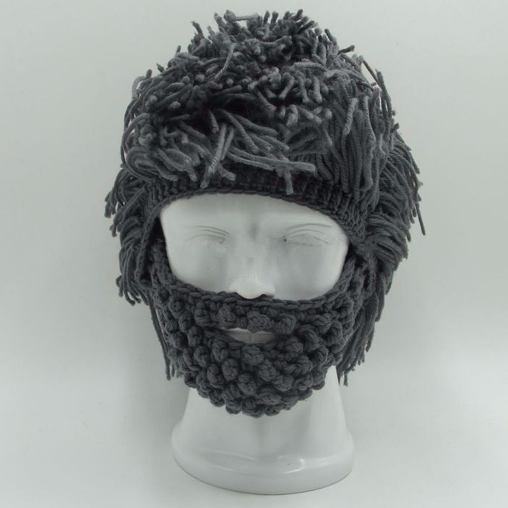 ba062b0ca15 Cool Gifts Beard Hats Handmade Knit Warm Winter Caps Halloween Funny Party  Beanies for Mad Scientist