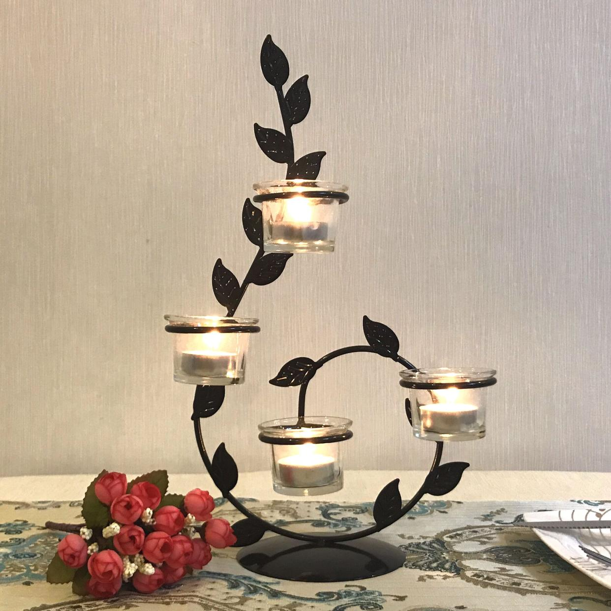 European Wrought Iron Candle Holder Valentines Day Romantic Creative Home Candlelight Dinner Wedding Candlestick DecorationEuropean Wrought Iron Candle Holder Valentines Day Romantic Creative Home Candlelight Dinner Wedding Candlestick Decoration