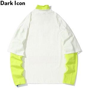 Image 2 - 다크 아이콘 가면 남자 드롭 어깨 힙합 티셔츠 긴 소매 거북이 가짜 2pcs 스트리트 남자 티셔츠 2019 새로운 가을