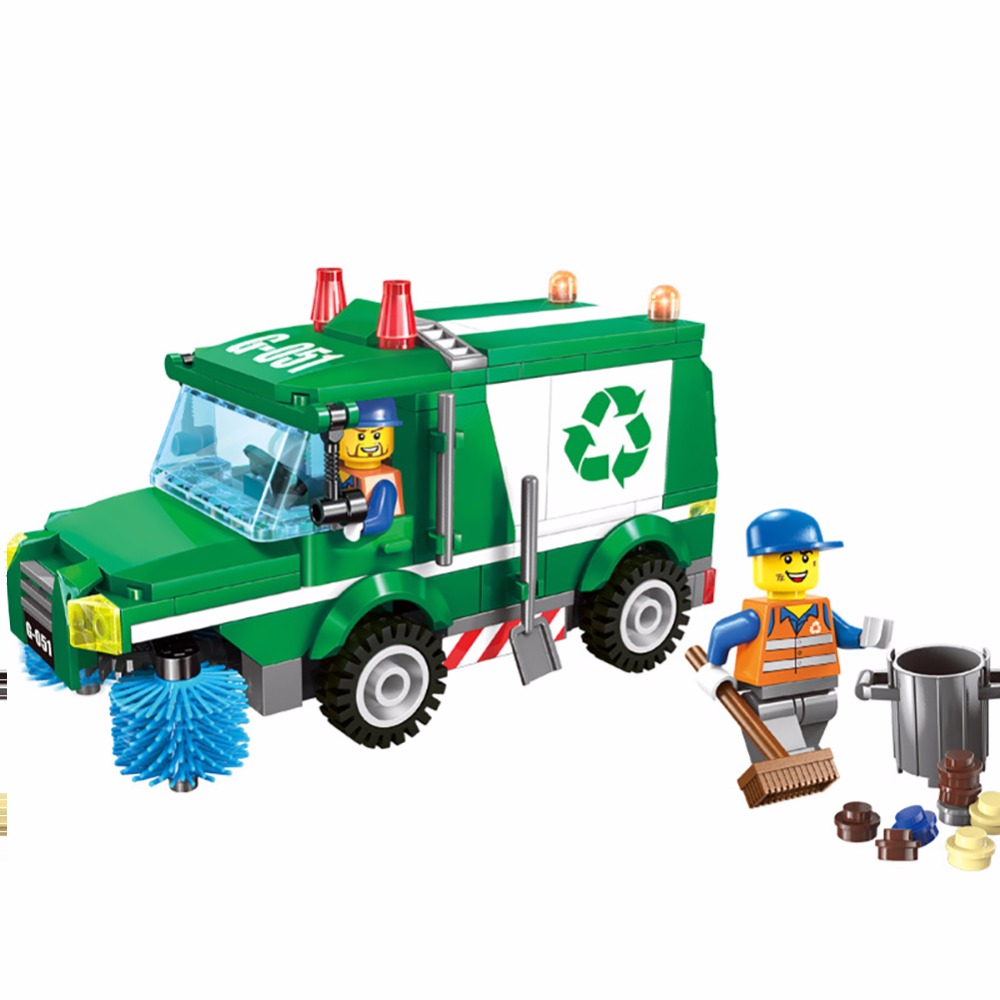 City Sanitation Garbage Truck Building Blocks Urban Sanitary Workers Minifigures Educational Bricks Toys Compatible font b