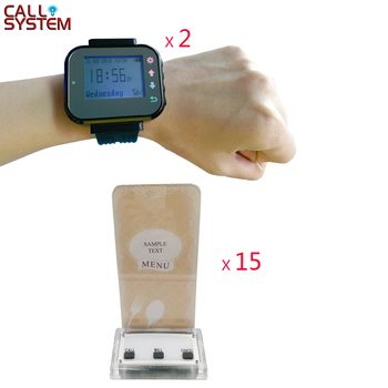 Wireless Pager Restaurant Waiter Calling System 15pcs Call Transmitter Button with menu holder + 2pcs Watch Receiver 433MHz