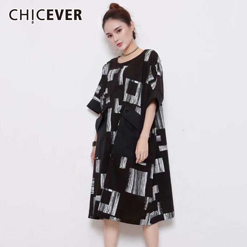 CHICEVER Black Summer Dress For Women Hit Colors Short Sleeve Loose Big Size O Neck Womens Dresses Female Clothes Fashion New