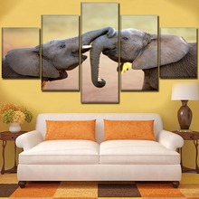 5 Piece Interplay Wildlife Elephant Poster Top-Rated Canvas Printing Modular Picture Modern Artwork Home Wall Decor Framework