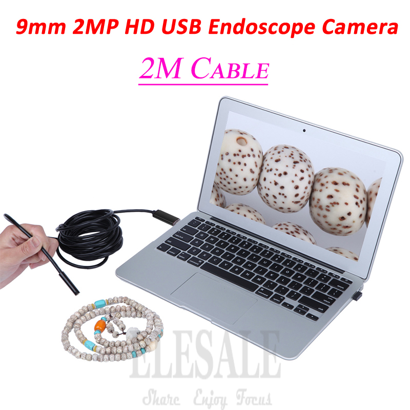 New 9mm 2M HD 2MP Mini USB Endoscope Camera Inspection Borescope Camera Windows PC For Car Repairing Examine eyoyo nts200 endoscope inspection camera with 3 5 inch lcd monitor 8 2mm diameter 2 meters tube borescope zoom rotate flip