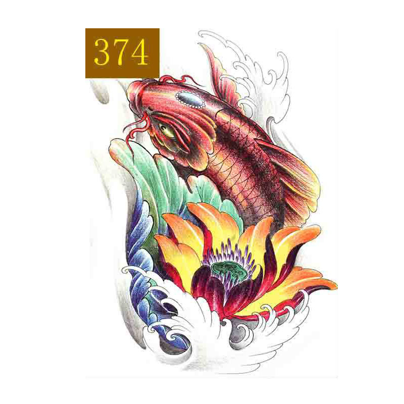 Manzilin 5 Unids Set Koi Fish Tattoo Impermeable Tatuajes Temporales