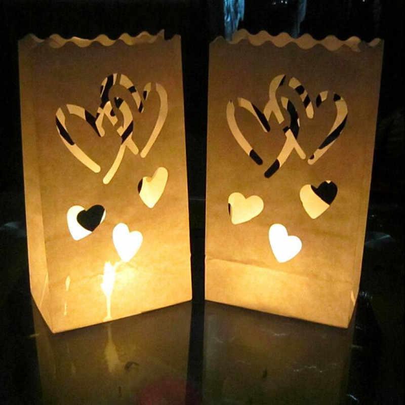 20 ชิ้น/ล็อตหัวใจคู่ชาผู้ถือกระดาษโคมไฟเทียนสำหรับคริสต์มาสงานแต่งงานตกแต่งผลิตภัณฑ์