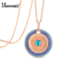 Viennois New Round Copper Pendant Necklaces For Woman Gold/Rose Gold Plated Full Colorful Zircon Paved Magic Eye Necklaces