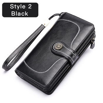 Vintage Style Split Leather Women's Wallet Bags and Wallets Hot Promotions New Arrivals Women's Wallets Color: Style 2 Black Ships From: China