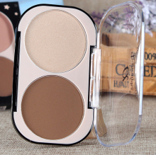 Face Contouring Makeup 2 Color Long-lasting Brighten Concealer Glitter Bronzer And Highlighter Glow Contour Powder Palette