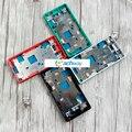 Para sony xperia z3 compact moldura quadro do meio placa habitação com botões laterais tampa da ficha de poeira z3 mini m55w substituição partes