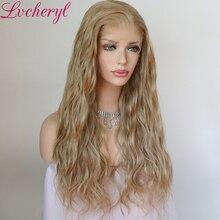 Lvcheryl סינטטי תחרה מול פאה טבעי גל בלונד צבע 13x6 סינטטי תחרה מול פאה Futura שיער תחרה פאות עבור נשים