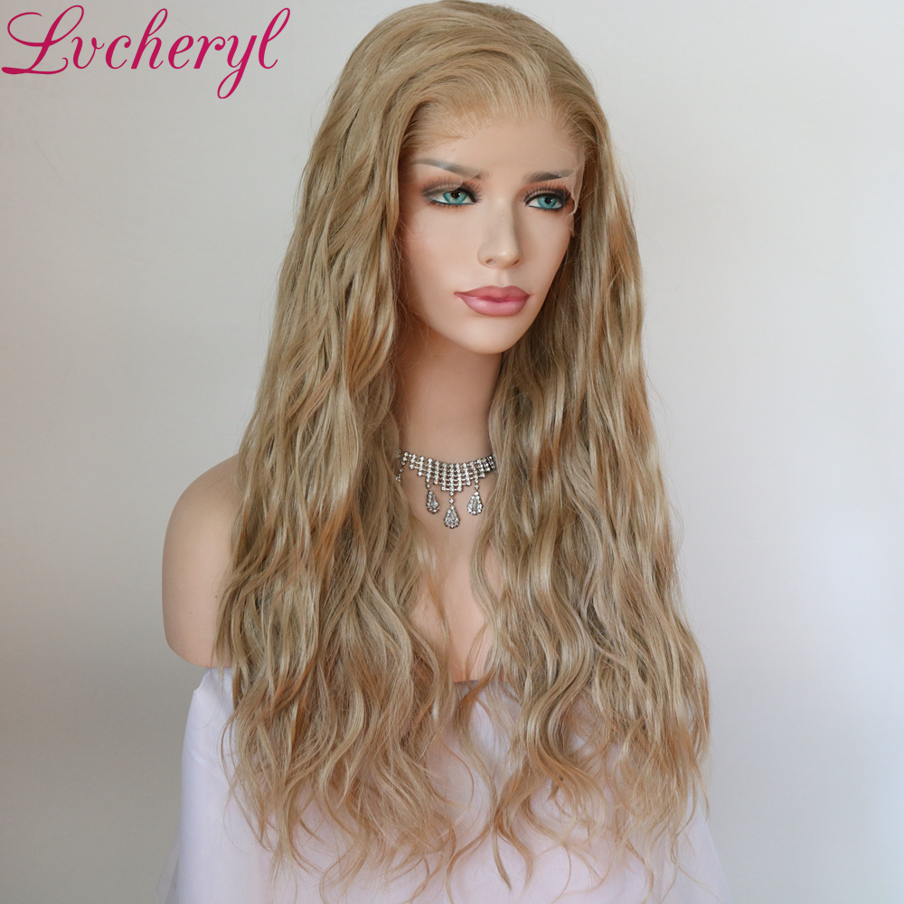 Lvcheryl Synthetic Lace Front Wig Natural Wave Blonde Color 13x6 Synthetic Lace Front Wig Futura Hair Lace Wigs For Women