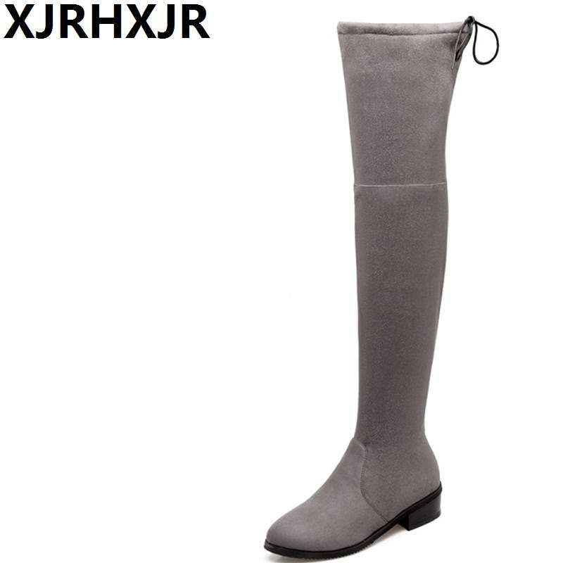 XJRHXJR Sexy Long Boots Winter Shoes Strech Over-the-knee Slim Boots Womens Winter Shoes Fashion Suede Leather Thigh Boots