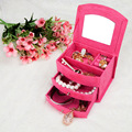 High quality multilayer jewelry storage box women's rings earrings protable velvet case wood fabric mirror jewel box