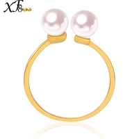 XF800 Pearl Rings 18K Yellow Gold Rings Pearl Jewlery Natural akoya 5.5 6mm Round Pearls au750 Wedding Bands Gift J111