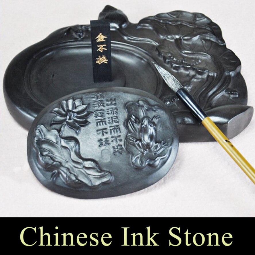 Черный цветок лотоса китайские чернила камень для художественной живописи каллиграфия поставка стационарные четыре сокровища обучения