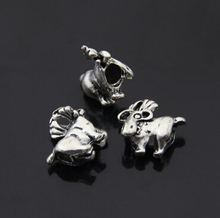 10pcs/lot New Wholesale Tibetan Silver Bead Goat Animal Shape European Beads Fit Charm Bracelet