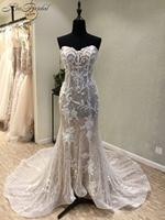 Glormous аппликации Свадебные платья Русалочки 2018 Милая Кружево корсет платье для невесты Vestido De Noiva