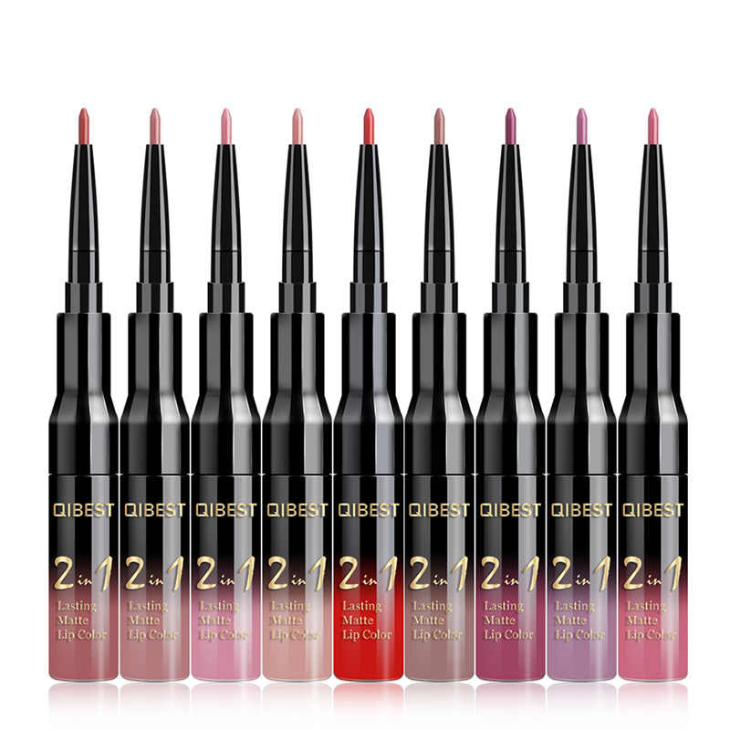 Best 2-in-1 Lip Gloss Lip Liner Double Lip Gloss Pen Matte Non-stick Cup Liquid Lipstick QQ99