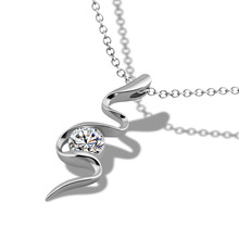 Fashion bright zircon necklace.Solid 925 silver women necklace.snake pendant personality.Wholesale silver jewelry Christmas gift