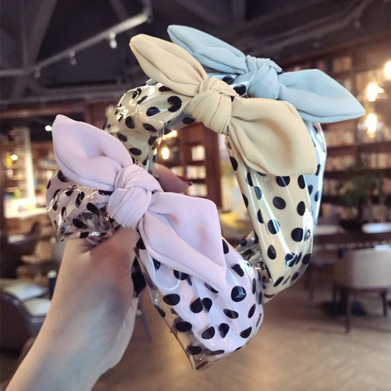 Korean Cloth Wave PU Leather Hairbands Headbands Rabbit ear Bows Hair hoop Hot sale Fashion Hair Accessories For Women Headdress