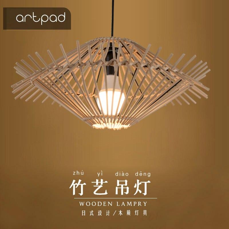 Artpad Hand Knitted Rattan Pendant Light E27 Wicker Lamp UFO Lights Dining Room Restaurant Cafe Tea House Handcraft Hanging