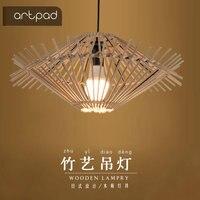 Artpad Hand Knitted Rattan Pendant Light E27 Wicker Lamp UFO Lights Dining Room Restaurant Cafe Tea House Handcraft Hanging Lamp