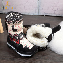Children Boots girls shoes fashion boots thick plush warm fur kids colour  boots plus size  buckle boots easy wear free shipping