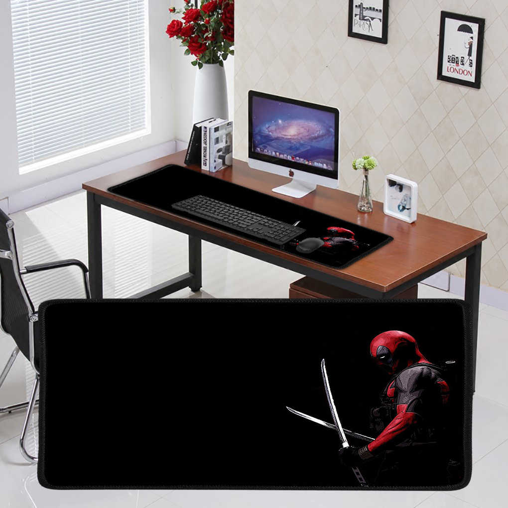 YIMAOC 30*60 cm Grande Mouse Pad Mousepad Gamer Gaming Mat Mesa com Borda de Travamento de Borracha Maravilha Deadpool Ferro homem