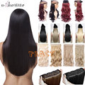 "New 130g 30"" 76cm Mega Long Women Straight High Natural 3/4 Full Head 5Clips Clip In Hair Extension Extensions Hairpiece"