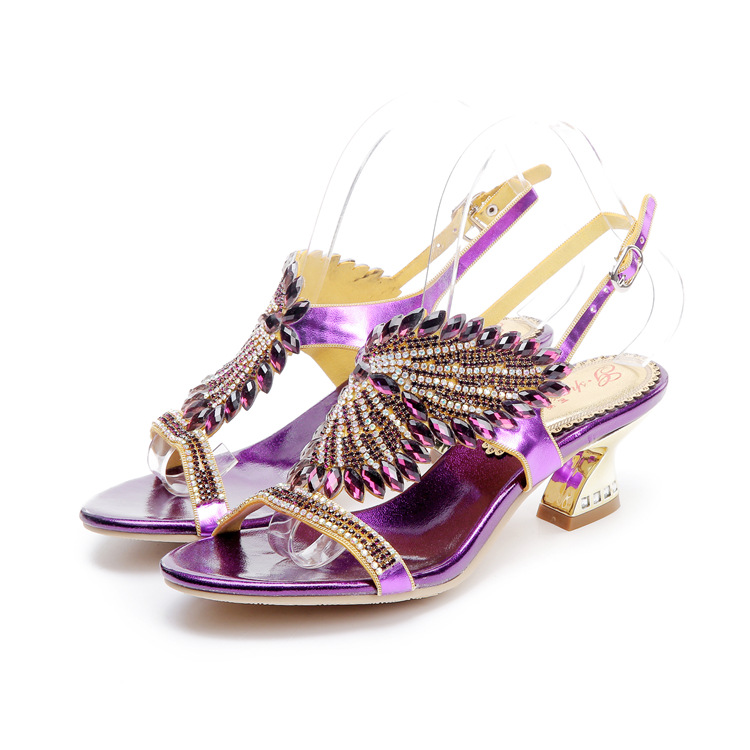 ФОТО 2017 Fashion SUMMER shoes woman leather Rhinestone Sandals Plus Size Crystal Chaussures Pour Femmes Talons Hauts