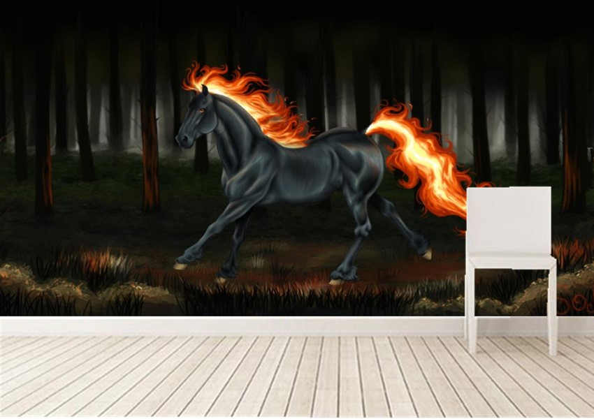 Custom 3D murals,Horses Fire Black Fantasy  papel de parede,hotel restaurant living room sofa TV wall children bedroom wallpaper custom 3d murals cartoon wolf papel de parede hotel restaurant coffee shop living room sofa tv wall children bedroom wallpaper