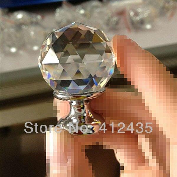 Free Shipping K9 30MM 10pcs/lot Clear Zinc Glass Crystal Decorative Kitchen Drawer Dresser Door Cabinet Knobs / Handles Pulls