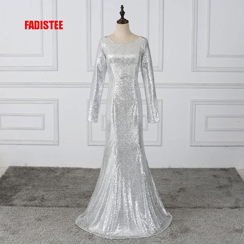 FADISTEE New arrival prom party   dress     evening     dress   Vestido de Festa luxury sliver sequins full sleeves Muslim free shipping