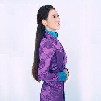 Nepal Tibet Gown Robe Elegent Lady China Ethnic Minority Garment Tibetan Women's Clothing High Quality Thick Silk Materials