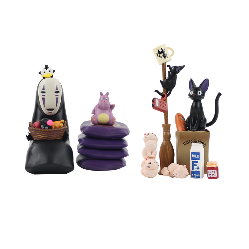 2sets/lot Kiki's Delivery Service and Spirited Away Miyazaki Hayao movie figure model toy Kiki cat No Face Man Faceless man toy image