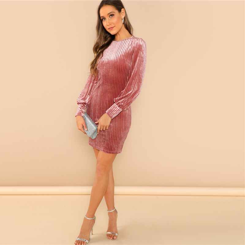 Elegant Pink Solid Ribbed Long Sleeve Velvet Dress