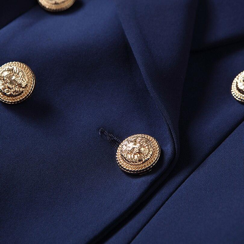 Haute qualité nouvelle mode 2019 Designer Blazer veste femmes boutons en or Double boutonnage Blazer extérieur taille S-XXXL - 5