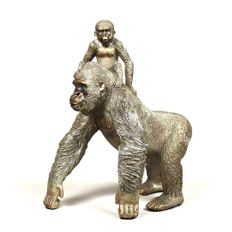 Statue de gorille argentée faite à la main résine père et fils singe Sculpture Animal sauvage amour artisanat décoration ornement cadeau pour mère-in Statues et sculptures from Maison & Animalerie    1