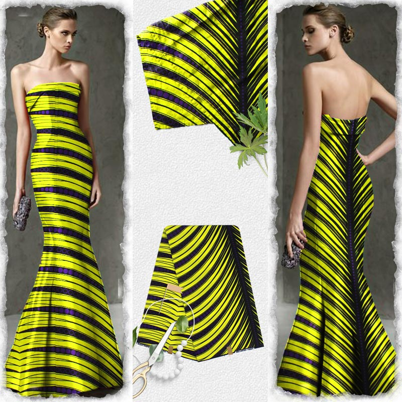 Wholesale Wedding Dresses.Us 30 67 29 Off African Fabric Hollantex Prints Purple Yellow Stripe Pattern African Wax Print Fabric For Wholesale Wedding Dresses H180727 In