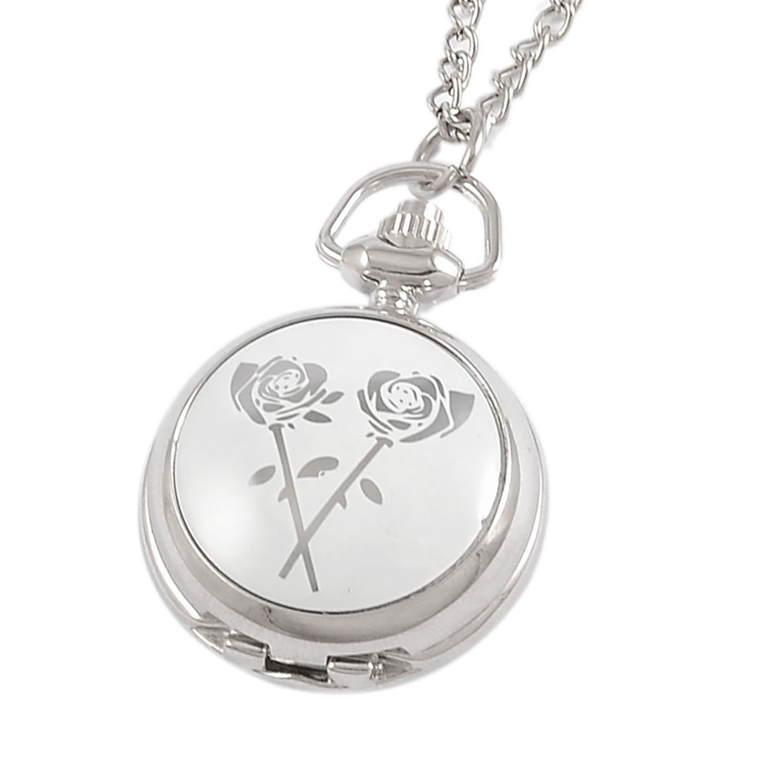 YCYS Rose Print Adjustable Time Metal Necklace Pendant Watch For Lady Fob Watches