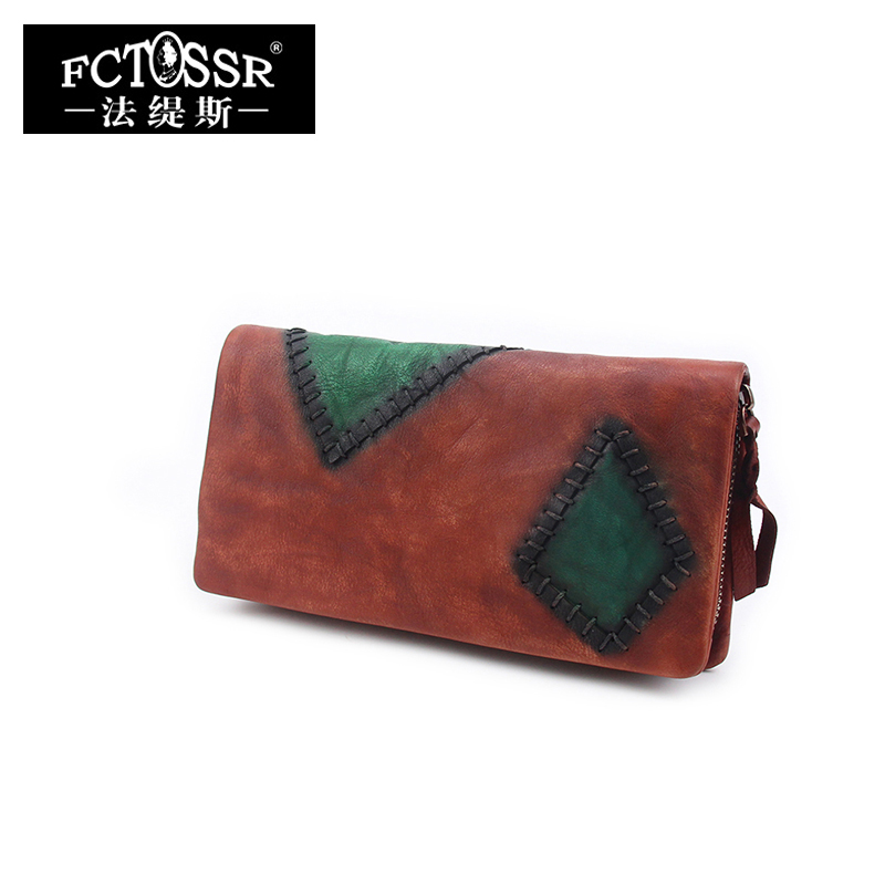 Leather Women's Long Style Wallet 2018 Vintage Handmade Genuine Cow Leather Wallets Lady Purse Mix Colors Card Holder panelled wallets cell phone pocket purse 2018 handmade natural leather vintage long style women s wallet