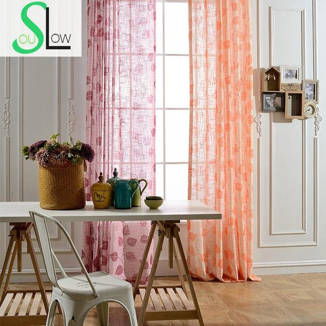 Slow Soul Red Orange Modern Jacquard Curtain Window Leaves Curtains For Living  Room Tulle Cortinas Sheer