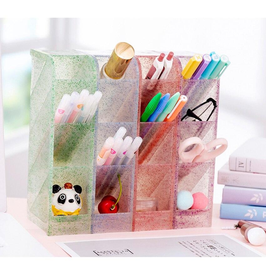 Cute Pen Holder Rack Staionery  Box Office Desktop Organizer Transparent Glitter Sundries/Cosmetic Storage Box For Girls