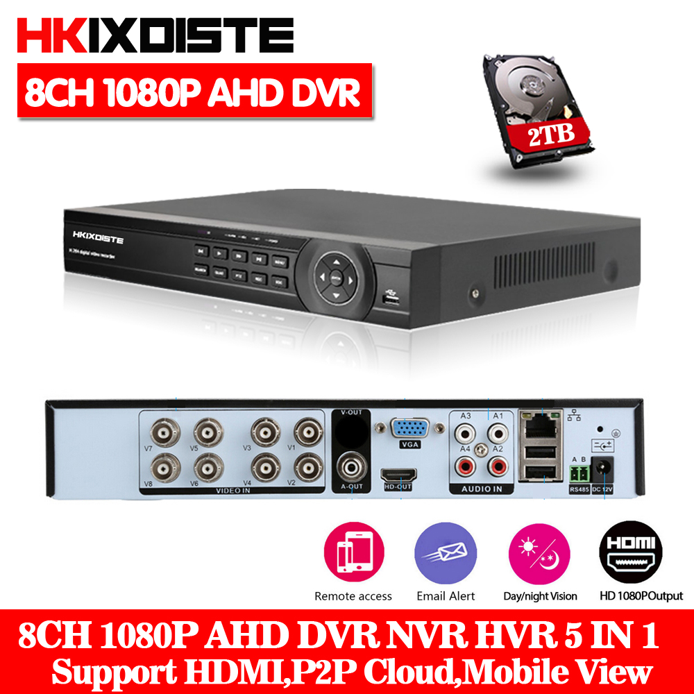 HKIXDSTE 8CH 1080N AHD DVR NVR HD 1080P Video Recorder H.264 CCTV IP Camera Network 8 Channel 1 SATA Multilanguage With 2TB HDD new avr tvr cvr dvr nvr 5 in one network recorder 16 channel 1080n h 264 support 3g and wifi for ccty and ip system